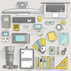 Flat modern design vector illustration concept of office workspace, workplace, desktop. Business work flow items, essentials, things, equipment, elements, objects, development tools.