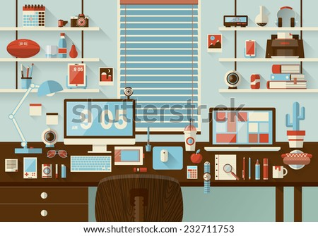 Flat Modern Design Vector Illustration Concept Of Office Workspace Workplace Desktop Business Work
