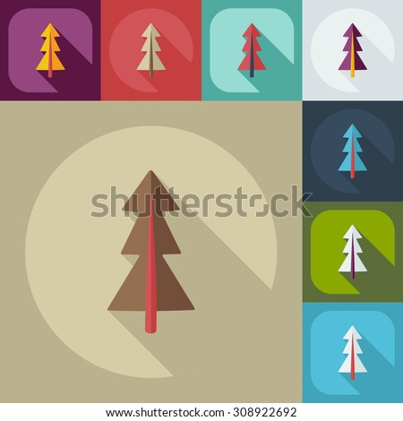 Flat modern design with shadow icons pine
