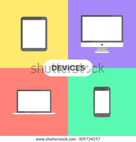 Flat modern electronic devices on colored background