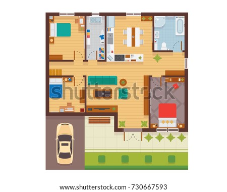 flat modern family house