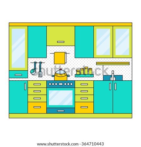 flat modern kitchen interior