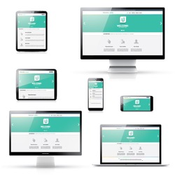 Flat modern responsive web design in isolated electronic devices