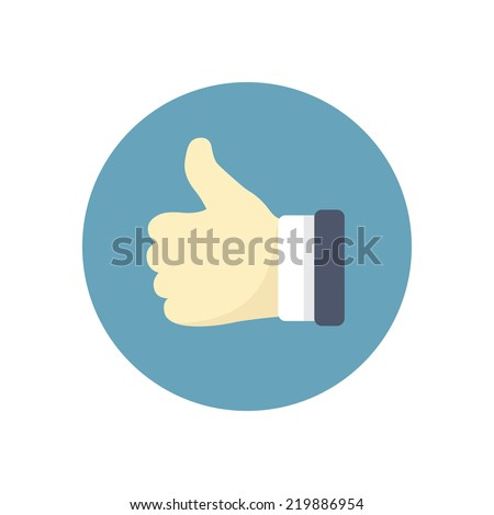 Flat modern vector icon: thumb up.