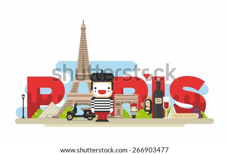 flat modern vector paris  the