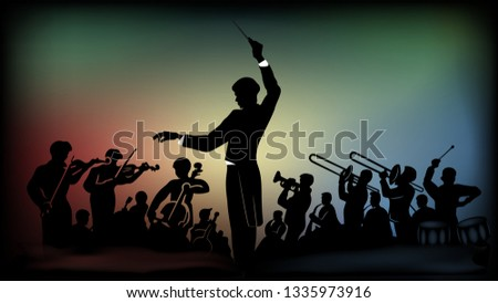 Flat monochromatic silhouette of an orchestra under the direction of a conductor against the background of bright multi-colored spots from spotlights Stockfoto ©