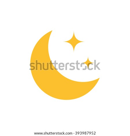 flat moon icon night symbol