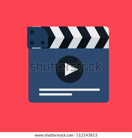 Flat movie clapperboard symbol. Stylish blank movie clapperboard elements. Vector