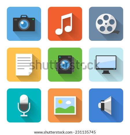 flat multimedia icons vector