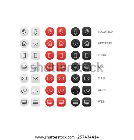 Flat multipurpose business card icon set of web icons for business, finance and communication. Vector graphic template.
