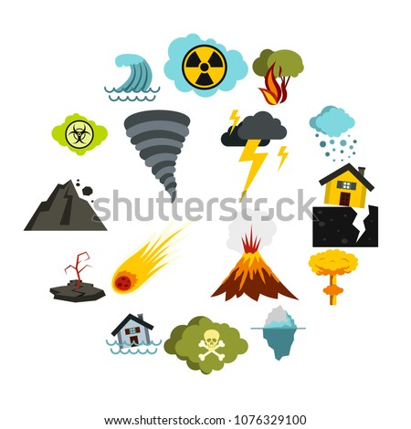 Flat natural disaster icons set. Universal natural disaster icons to use for web and mobile UI, set of basic natural disaster elements isolated vector illustration