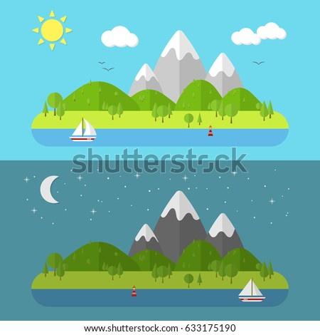Flat nature landscape. Vector illustration with sun, moon, ship and stars.