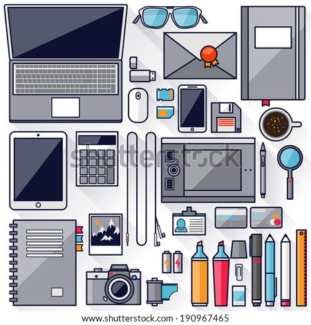 Flat office workplace environment tools and essentials Various devices Collection concept in stylish trendy colors of business items Isolated vector illustration Stroke thin line outline