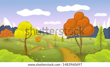 flat or cartoon autumn