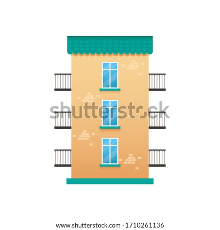 Flat orange Building with windows, small town vector illustration, isolated on white background