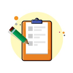 Flat orange clipboard icon with paper and green pencil on yellow circle background