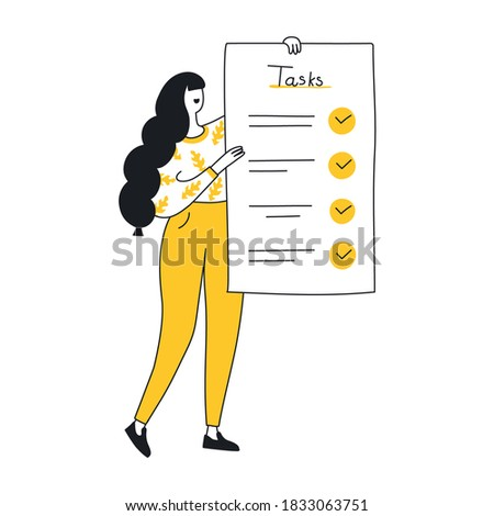 Flat outline to do list, Month planning, time management.  The woman is standing with a large to do list. Plan fulfilled, task completed concept. Vector illustration on isolated white background.