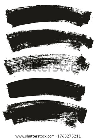 Flat Paint Brush Thin Long Curved Background High Detail Abstract Vector Background Set