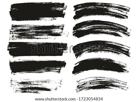 Flat Paint Brush Thin Long & Curved Background Mix High Detail Abstract Vector Background Mix Set