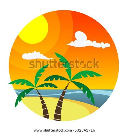 flat palm trees on island