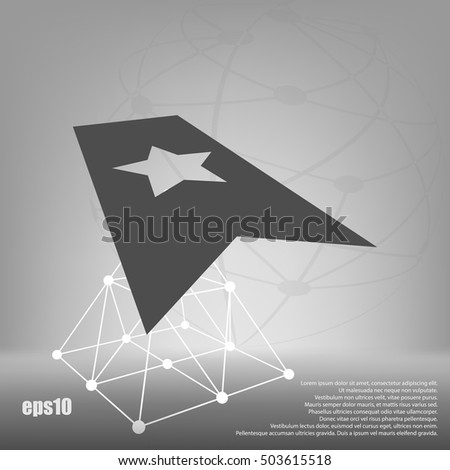 Flat paper cut style icon of web bookmark. Vector illustration