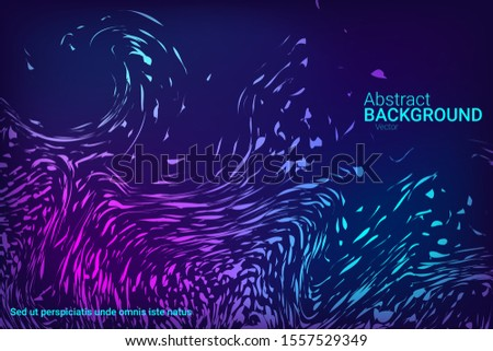 Flat particles of fluid dynamics for wallpaper design.  Abstract template.  Liquid wave modern background. Abstract vector illustration.