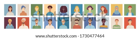 Flat people avatars set. Happy multicultural young, adult, and senior men and women profile pictures. Diverse human face icons for representing a person. Vector user pic for web forum or account Stock fotó ©
