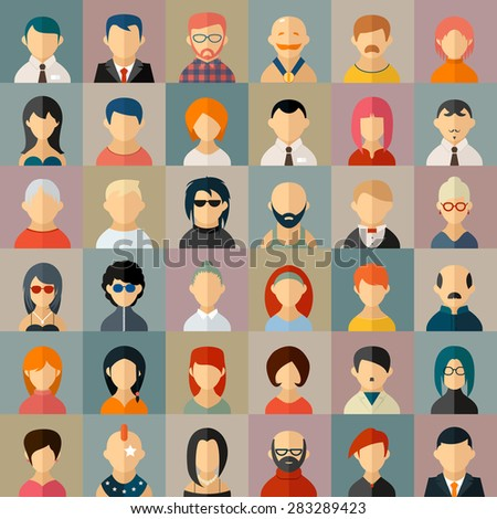 Flat people character avatar icons set Face portrait girl and boy Vector illustration