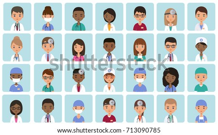 Flat people doctors, nurses and surgeons. Animated avatars. Faces medical characters. Set icons. Vector illustration.  Hospital staff. Medicine concept