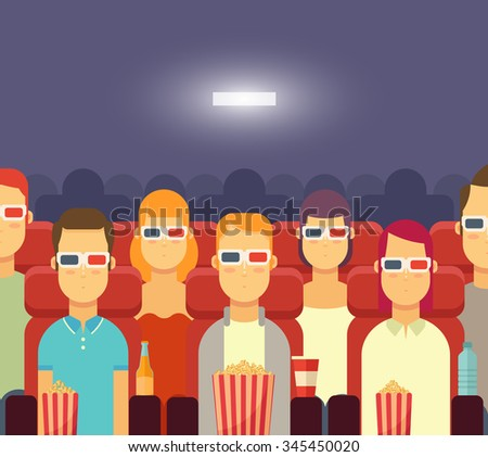 flat people with popcorn