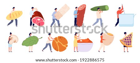 Flat person cooking. Food cook service, woman cutting products. People prepare dinner lunch, happy restaurant or home kitchen utter vector set