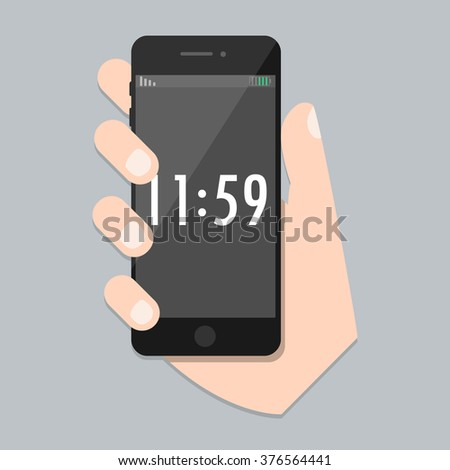 Flat phone with arm and isolated time screen. SmartPhone on hand Icon in iphone style. Trendy vector illustration for web site and mobile development app.