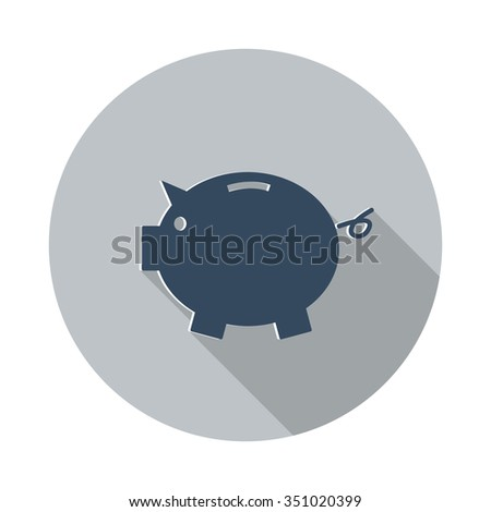 flat piggy bank icon with long
