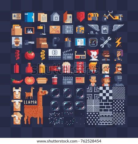 flat pixel art icons big set