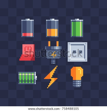 Flat pixel art icons set. Battery, charger, socket, plug, electric switch and lightbulb. Pixel art style. 8-bit sprite. Old school computer graphic style. Isolated vector illustration.