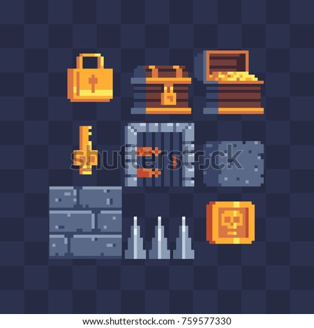 Flat pixel art icons set. Padlock, chest, gold, doors, key, wall and coin. Pixel art style. 8-bit. Video game sprite. Old school computer graphic style. Isolated vector illustration.