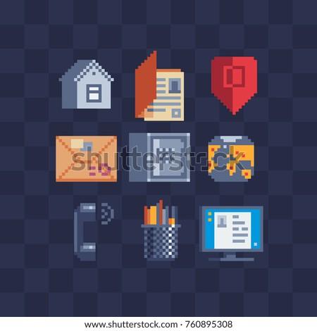 Flat pixel art icons set. Website  symbols sign. Office tools. Safe, envelope, folder, computer, handset, pencils and pens. Isolated vector illustration. Pixel art style. 8-bit sprite.