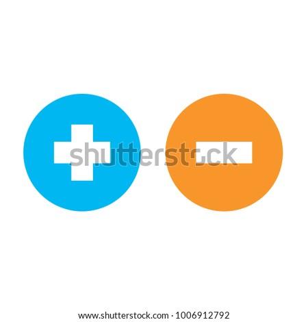 Flat plus and minus round shape icons, blue plus and orange minus , vector, isolated on white background
