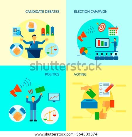 Flat politics concept with election process voting debates campaign vector illustration  ストックフォト ©