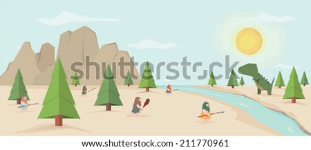 flat prehistoric scene of a