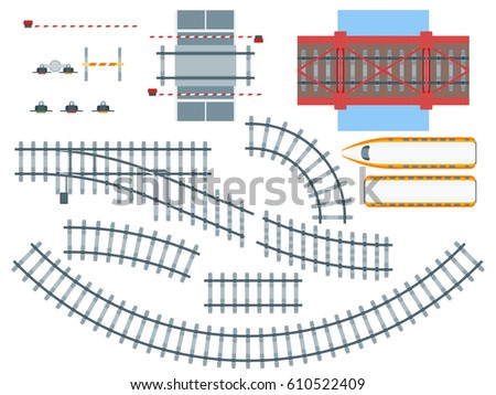 flat railway elements set with