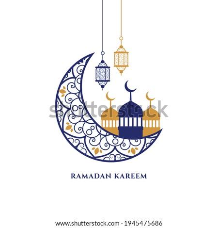 flat ramadan kareem decorative islamic greeting design