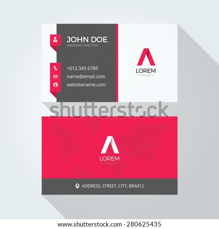 Flat Red A Letter Logo Business card template