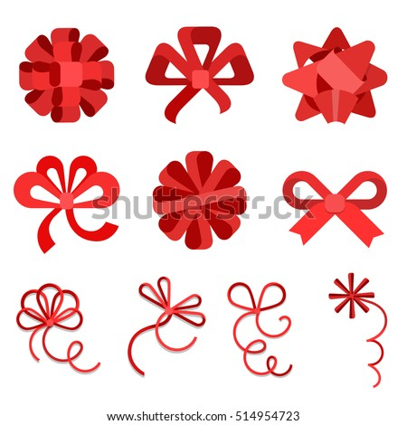 Flat Red gift bows of ribbon isolated on white background vector illustration set. Holidays and celebrations concept.