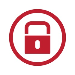 Flat red Lock icon in circle on white
