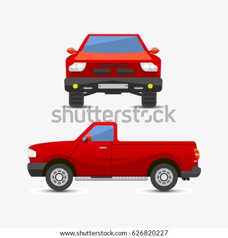 flat red pickup car vehicle
