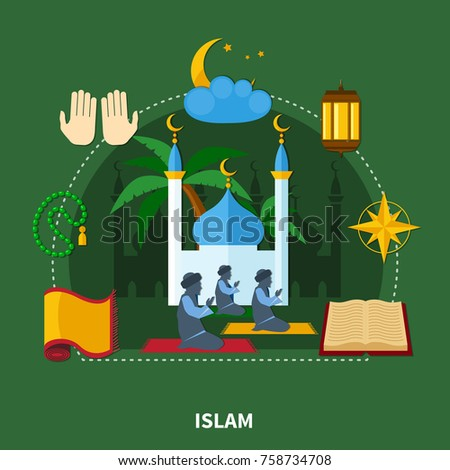 Flat religions colored composition with islam and important elements of this religion vector illustration