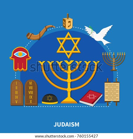 Flat religions composition with Judaism and the main distinctive features of this religion vector illustration