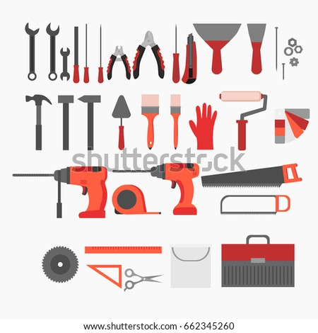 Flat repair and construction working tools icon set. Industrial Instrument isolated