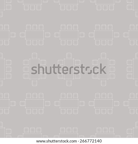 Flat repeating pattern with chair and table signs texture. Seamless modern furniture texture. EPS10 vector illustration #266772140